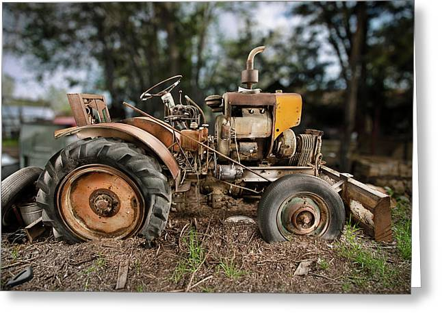 Bulldozer Greeting Cards - Antique Tractor Greeting Card by Yo Pedro