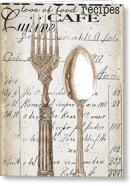 Dine Greeting Cards - Antique Utensils for Kitchen and Dining in White Greeting Card by Grace Pullen