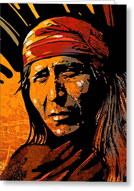 Native Peoples Greeting Cards - Apache Warrior Greeting Card by Paul Sachtleben