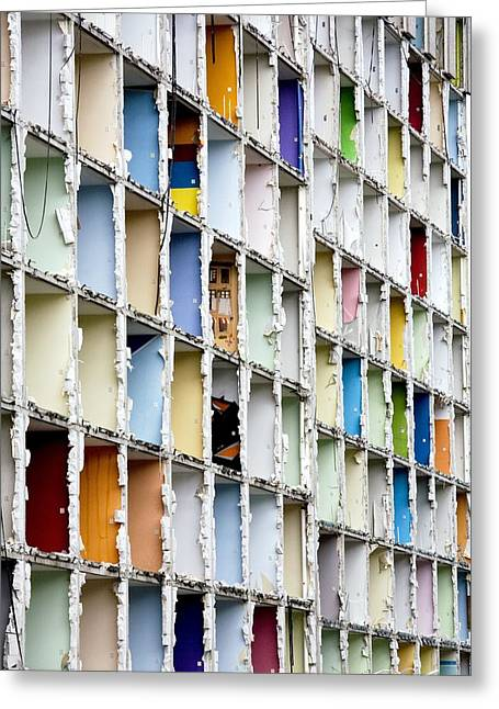 Student Housing Greeting Cards - Apartment Block Demolition Greeting Card by Dirk Wiersma
