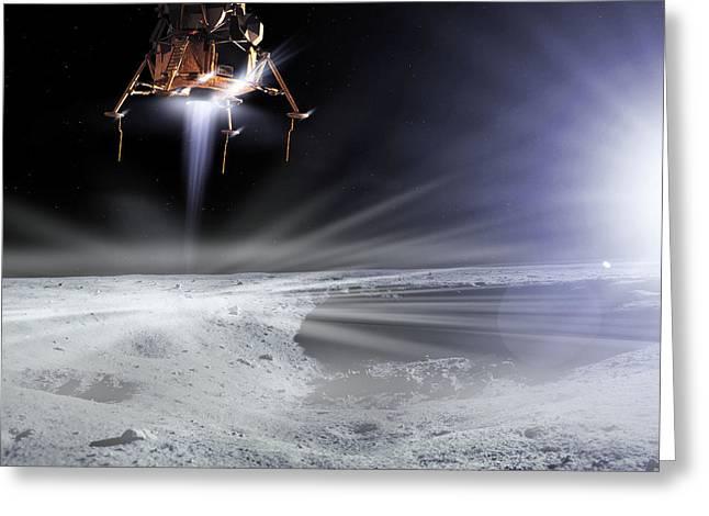 Lm Greeting Cards - Apollo 11 Moon Landing, Computer Artwork Greeting Card by Detlev Van Ravenswaay