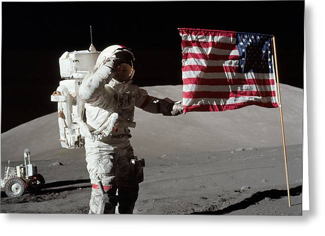 Spacesuit Greeting Cards - Apollo 17 Astronaut Salutes The United Greeting Card by Stocktrek Images