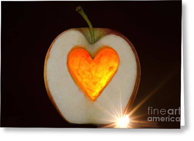 Passion Fruit Greeting Cards - Apple with a heart Greeting Card by Mats Silvan