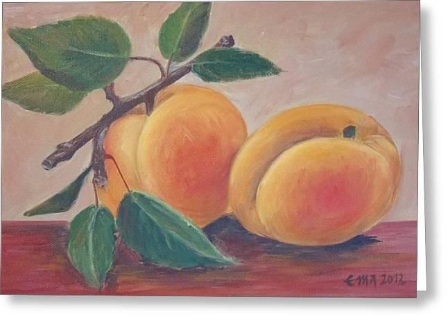 Apricot Greeting Card by Ema Dolinar Lovsin