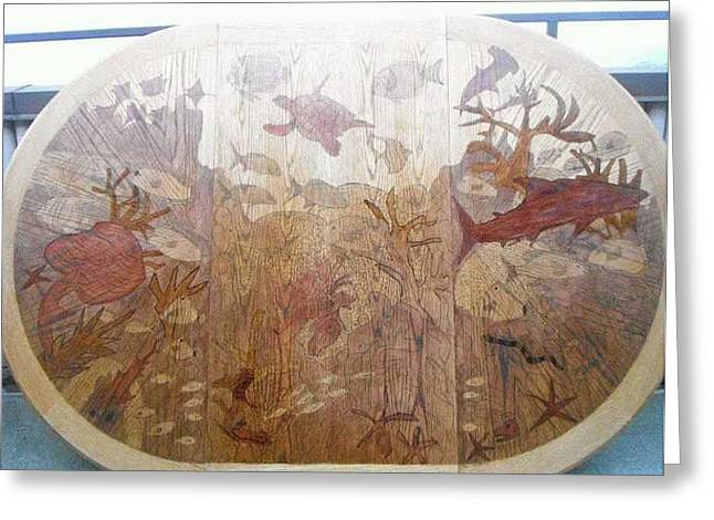 Wonderland Pyrography Greeting Cards - Aquatic Wonderland  Greeting Card by Shannon  Kramer