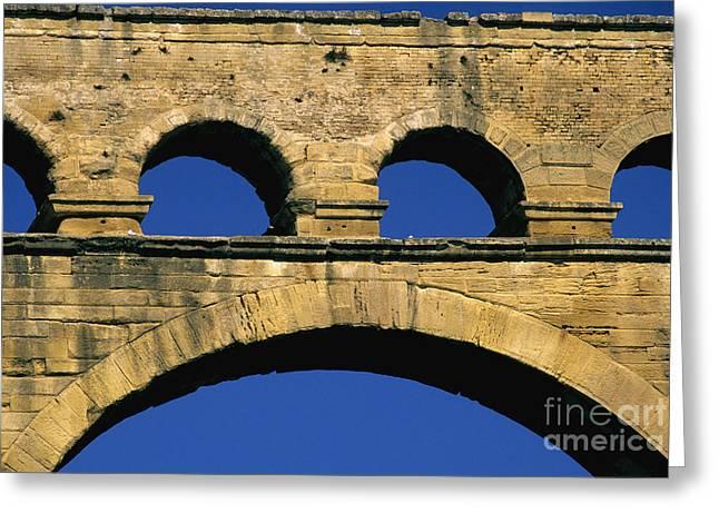 South Of France Greeting Cards - Aqueduc du Pont du Gard.Provence Greeting Card by Bernard Jaubert