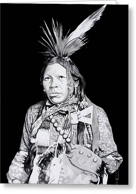 Indian Chief Greeting Cards - Arapahoe Greeting Card by Ferrel Cordle