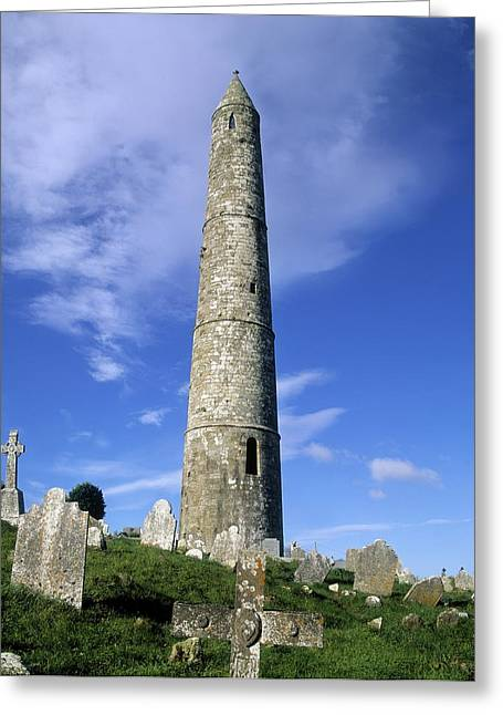 Headstones Greeting Cards - Ardmore Round Tower, Ardmore, Co Greeting Card by The Irish Image Collection