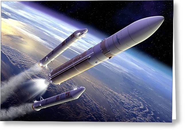 Rocket Boosters Greeting Cards - Ariane 5 Rocket Launch, Artwork Greeting Card by David Ducros