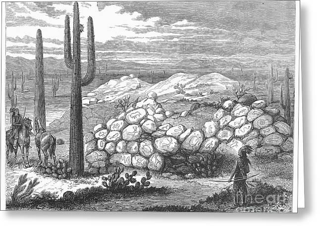 1876 Greeting Cards - Arizona: Painted Rocks Greeting Card by Granger