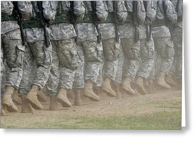 Synchronicity Greeting Cards - Army Rangers Marching In Formation Greeting Card by Skip Brown