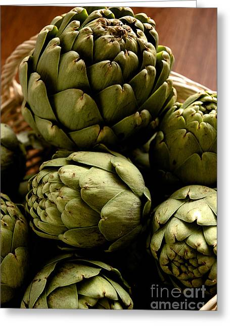 Vegetable Basket Greeting Cards - Artichoke Greeting Card by HD Connelly