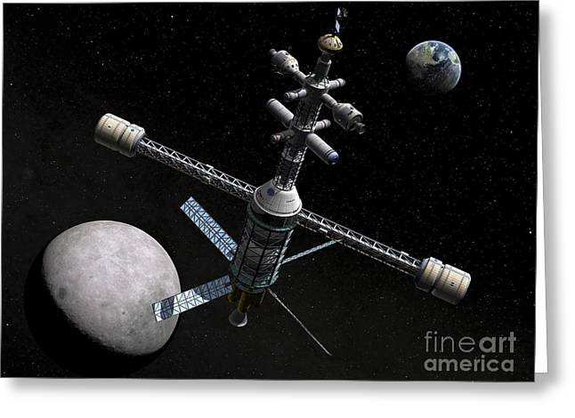 Space Probes Greeting Cards - Artists Concept Of A Lunar Cycler Greeting Card by Walter Myers