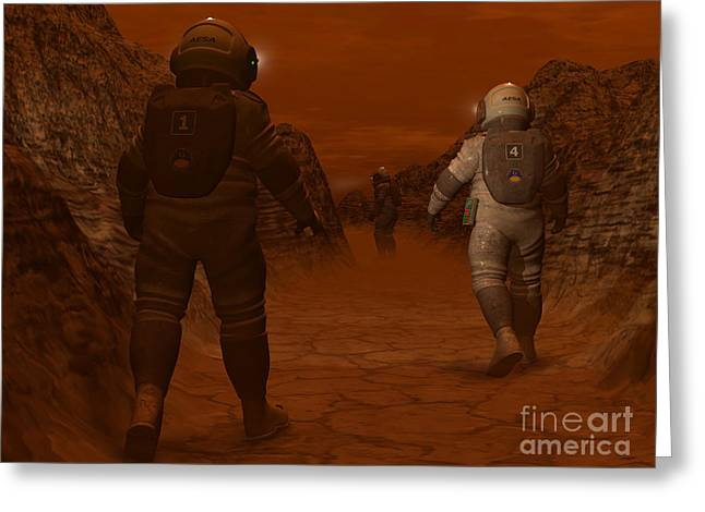 Moonwalk Digital Greeting Cards - Artists Concept Of Astronauts Exploring Greeting Card by Walter Myers