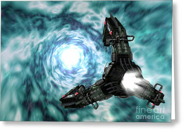 Intergalactic Space Digital Greeting Cards - Artists Concept Of The Assimilators Greeting Card by Rhys Taylor