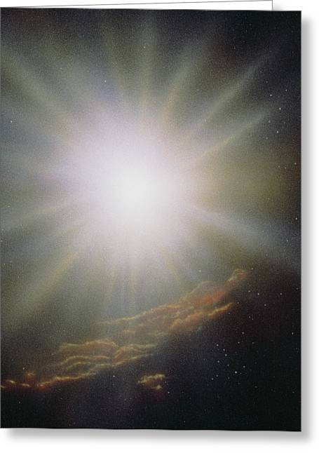 Stellar Formation Greeting Cards - Artists Impression Of The Formation Of A New Star Greeting Card by Julian Baum