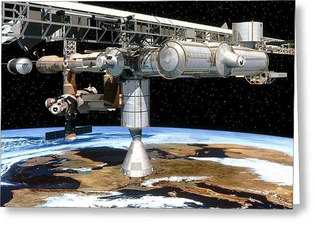 Automated Transfer Vehicles Greeting Cards - Artwork Of The International Space Station Greeting Card by David Ducros