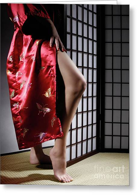 Asian Ethnicity Greeting Cards - Asian Woman in Red Kimono Greeting Card by Oleksiy Maksymenko