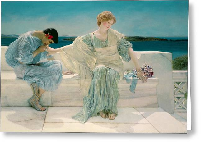 Couple Kissing Greeting Cards - Ask me no more Greeting Card by Sir Lawrence Alma-Tadema