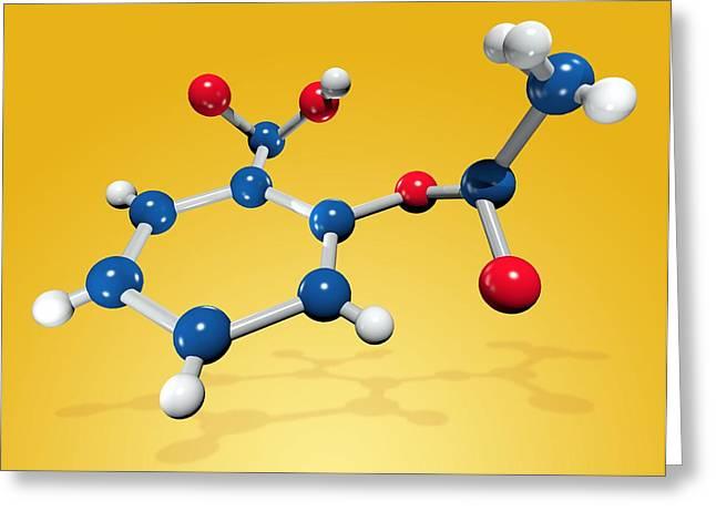 Aspirin Greeting Cards - Aspirin Drug Molecule Greeting Card by Miriam Maslo