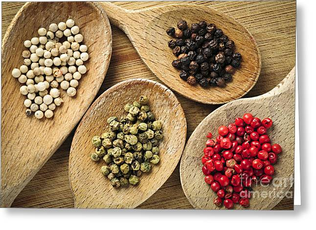 Black Top Greeting Cards - Assorted peppercorns Greeting Card by Elena Elisseeva