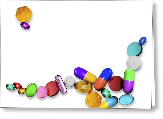 Capsule Greeting Cards - Assorted Pills, Computer Artwork Greeting Card by Victor Habbick Visions