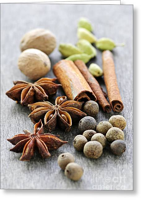 Loose Greeting Cards - Assorted spices Greeting Card by Elena Elisseeva