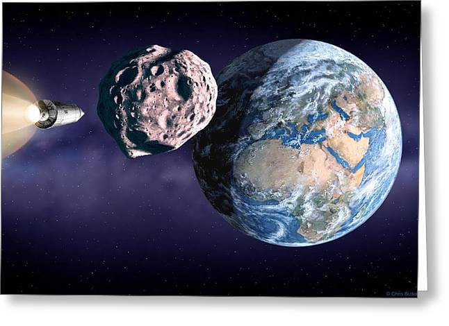 Inner Space Greeting Cards - Asteroid Deflection Greeting Card by Chris Butler