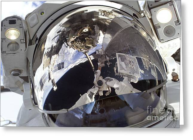 Astronaut Uses A Digital Still Camera Greeting Card by Stocktrek Images