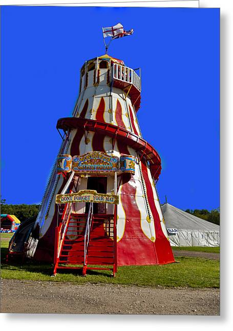 Helter-skelter Greeting Cards - At The Fun Fair Greeting Card by Trevor Kersley