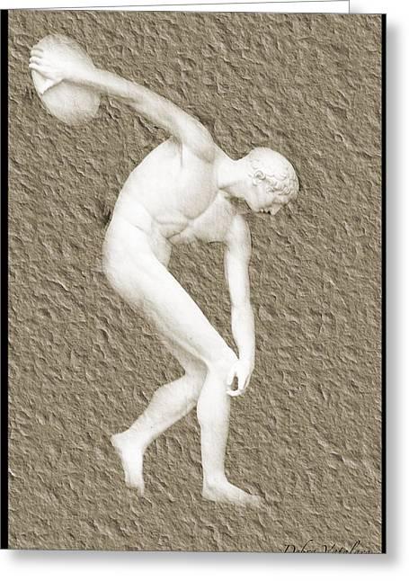 Disk Mixed Media Greeting Cards - Athlete 2 Greeting Card by Debra     Vatalaro
