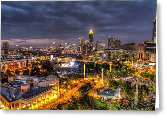 4th July Photographs Greeting Cards - Atlanta SkyLine Greeting Card by Anna Rumiantseva