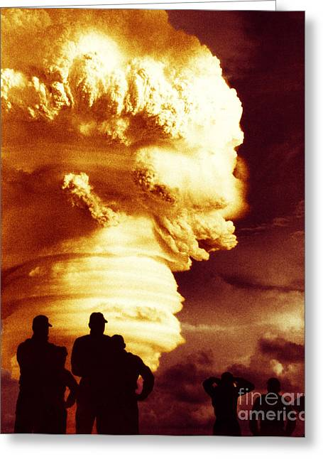 Detonation Greeting Cards - Atomic Bomb Explosion Greeting Card by Omikron