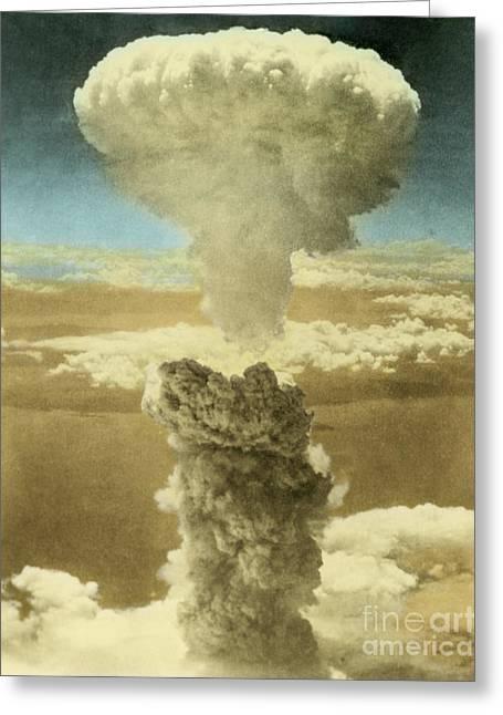 Enhanced Photographs Greeting Cards - Atomic Bombing Of Nagasaki Greeting Card by Omikron