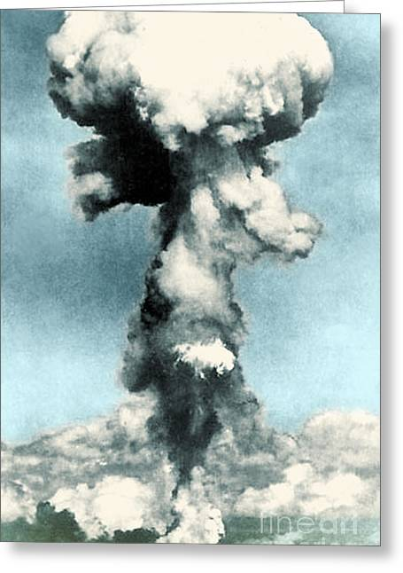 Enhanced Photographs Greeting Cards - Atomic Bombing Of Nagasaki Greeting Card by Science Source