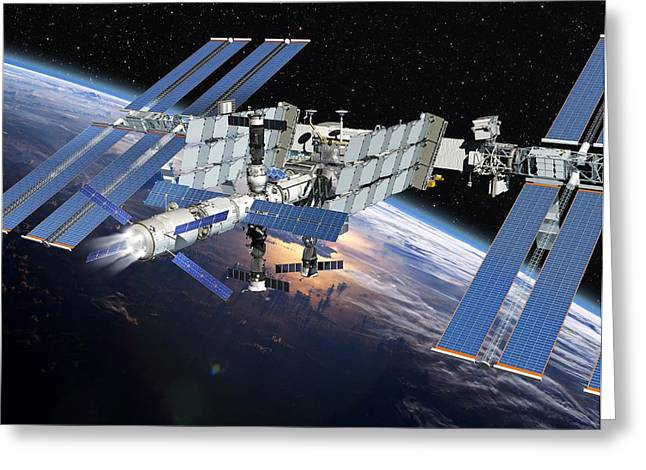 Resupply Greeting Cards - Atv Boosting The Iss, Artwork Greeting Card by David Ducros