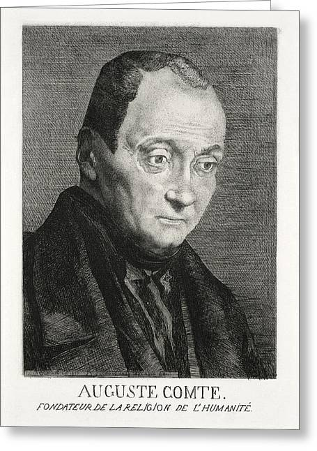Church Founder Greeting Cards - Auguste Comte, French Philosopher Greeting Card by Humanities & Social Sciences Librarynew York Public Library