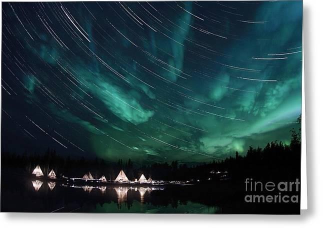 Trailing Greeting Cards - Aurora And Star Trails Greeting Card by Yuichi Takasaka