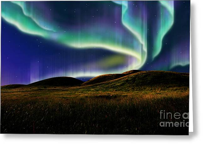Universe Mixed Media Greeting Cards - Aurora On Field Greeting Card by Atiketta Sangasaeng