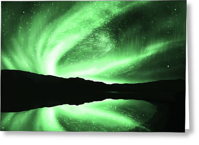 Above Greeting Cards - Aurora Greeting Card by Setsiri Silapasuwanchai