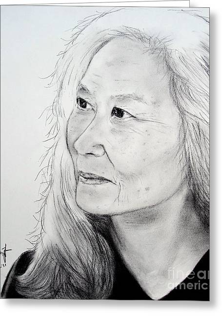 Author And Activist Maxine Hong Kingston Greeting Card by Jim Fitzpatrick