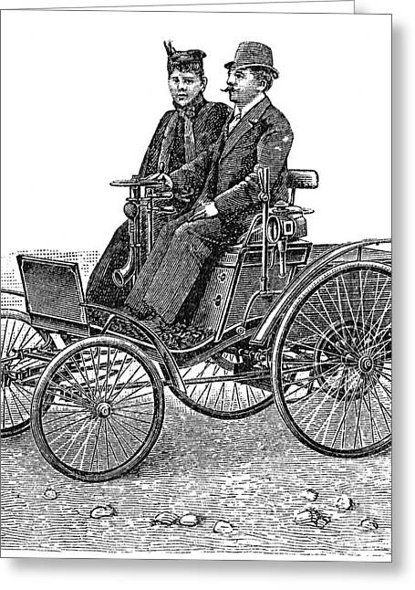 1880s Greeting Cards - Automobile: Benz Greeting Card by Granger