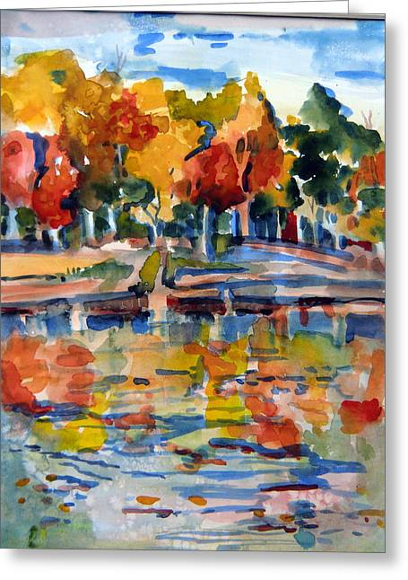 Autumn Landscape Drawings Greeting Cards - Autumn Color Greeting Card by Mindy Newman