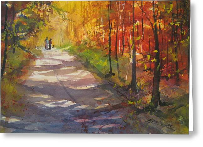 Dappled Light Greeting Cards - Autumn in Bradley Hollow Greeting Card by Madelaine Alter