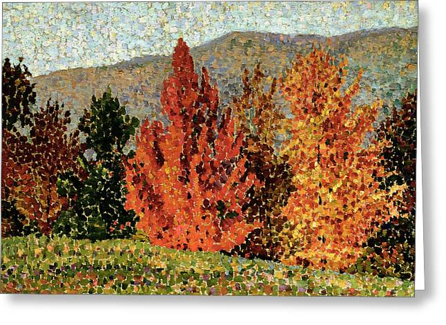 Colors Of Autumn Greeting Cards - Autumn Landscape Greeting Card by Henri-Edmond Cross
