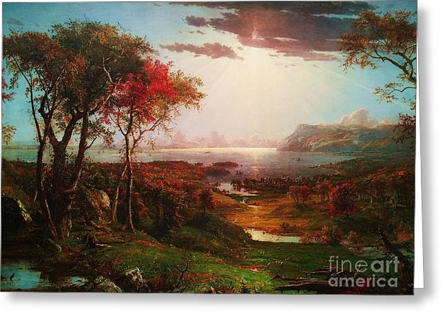 Cropsey Greeting Cards - Autumn On The Hudson Greeting Card by Pg Reproductions