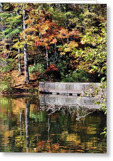 Walking Bridge Greeting Cards - Autumn Reflections Greeting Card by Kristin Elmquist