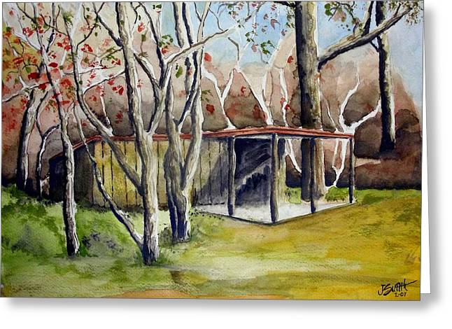 Shed Drawings Greeting Cards - Autumn Shed Greeting Card by Jimmy Smith