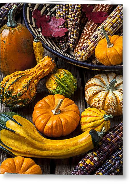 Gourds Greeting Cards - Autumn still life Greeting Card by Garry Gay