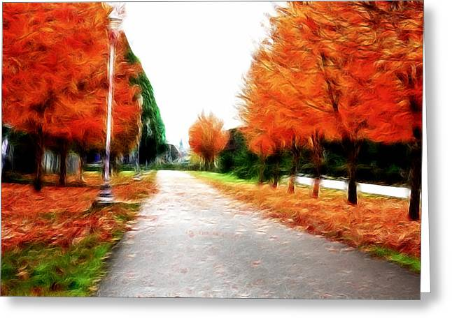 Fall Photos Mixed Media Greeting Cards - Autumn Walk  Greeting Card by Kami McKeon